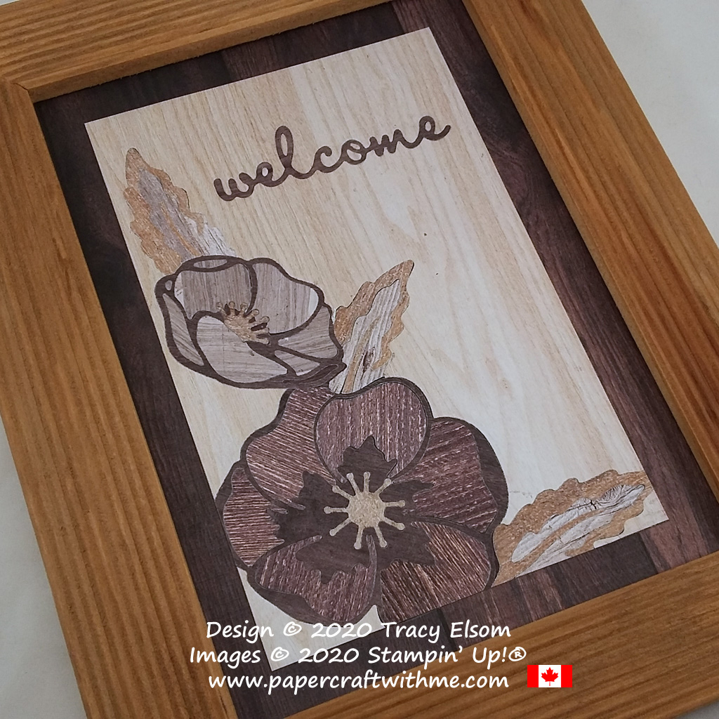 "Faux marquetry ""Welcome"" picture using the Poppy Moments Dies and In Good Taste patterned paper fromFaux wood marquetry ""Welcome"" picture using the Poppy Moments Dies and In Good Taste patterned paper from Stampin' Up! #papercraftwithme"