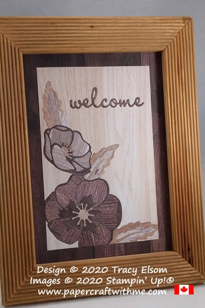 "Faux wood marquetry ""Welcome"" picture using the Poppy Moments Dies and In Good Taste patterned paper from Stampin' Up! #papercraftwithme"
