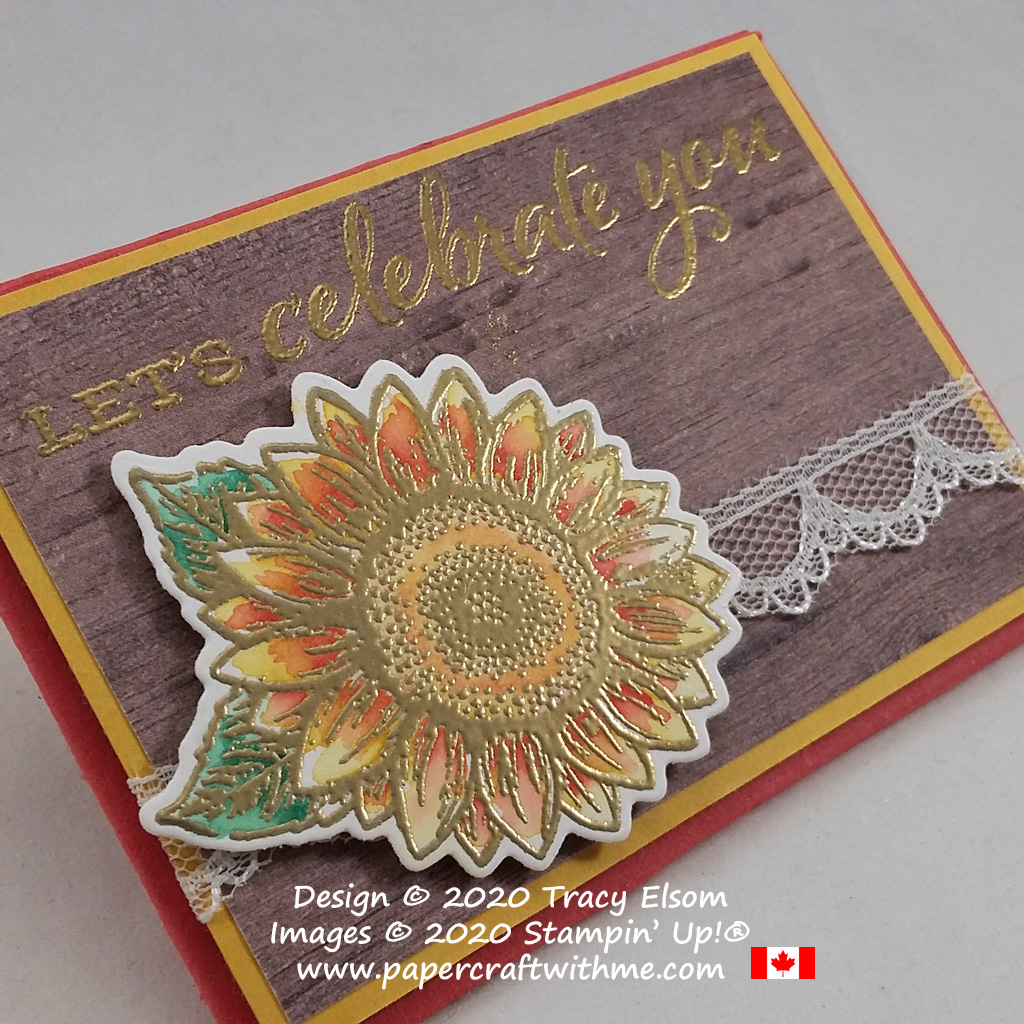 """""""Let's celebrate you"""" with this gift card holder featuring a gold embossed and painted flower from the Celebrate Sunflowers Stamp Set by Stampin' Up! #papercraftwithme"""