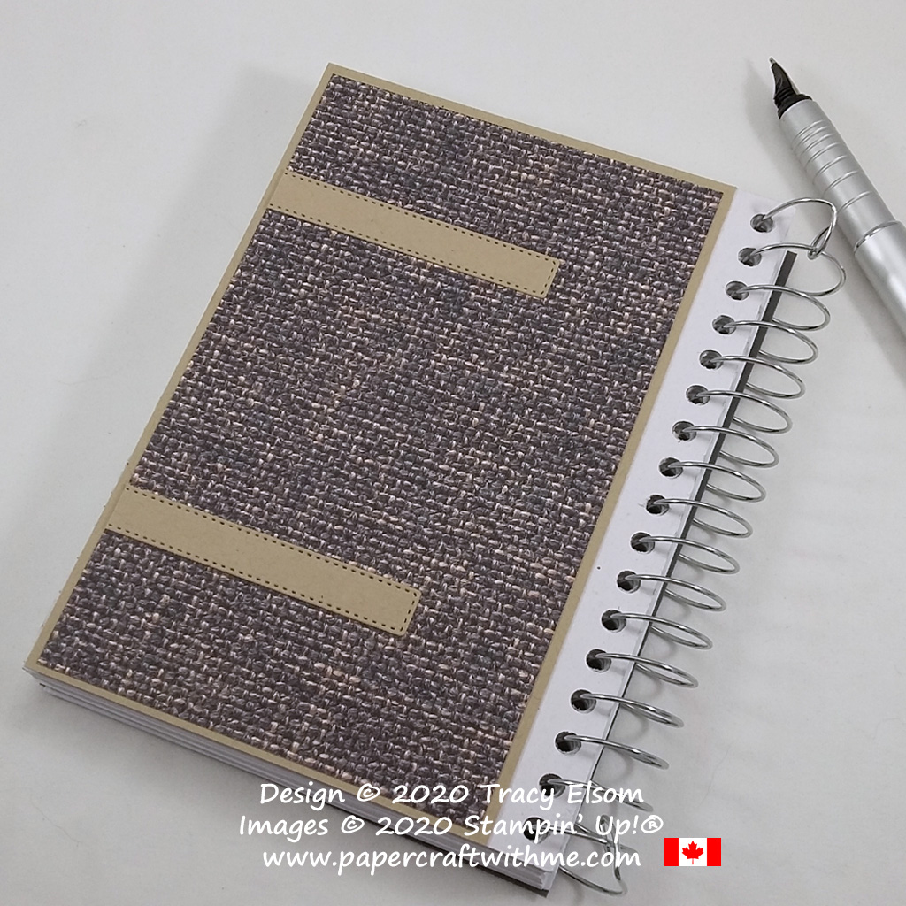 Back view of notebook with faux stitched straps and fabric cover created using the In Good Taste patterned paper from Stampin' Up! #papercraftwithme