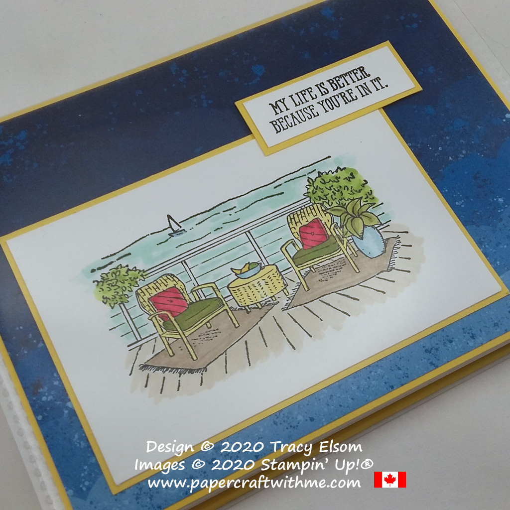 """Mini 4"""" x 6"""" pocket photo album decorated with deck scene and """"My life is better because you're in it"""" sentiment, created using the Seaside View and Well Said Stamp Sets from Stampin' Up! #papercraftwithme"""