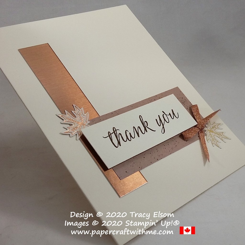 Simple masculine / gender neutral thank you card created using paper scraps and the Beautiful Autumn Stamp Set from Stampin' Up! #papercraftwithme