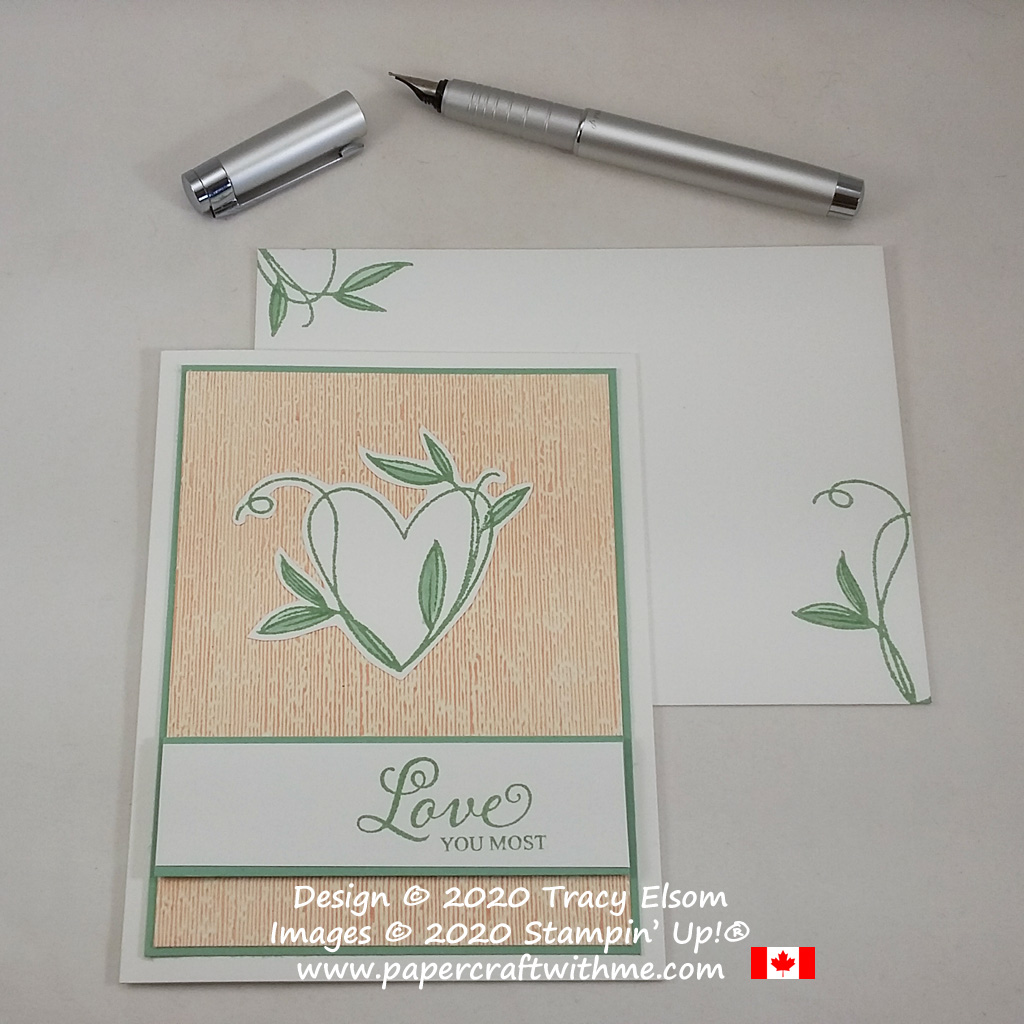 """Love you most"" card created using the Touched My Heart (Host) Stamp Set and Subtle 3D Embossing Folder from Stampin' Up! #papercraftwithme"