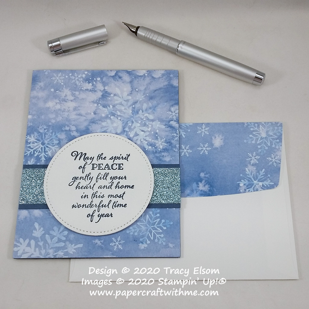 "Card with ""spirit of peace"" sentiment created using the Peaceful Boughs Stamp Set and Snowflake Splendor paper from Stampin' Up! #papercraftwithme"