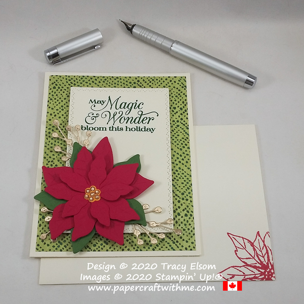 "Christmas card with ""May magic & wonder bloom this holiday"" sentiment and large 3D poinsettia created using the Poinsettia Petals Stamp Set and Poinsettia Dies from Stampin' Up! #papercraftwithme"