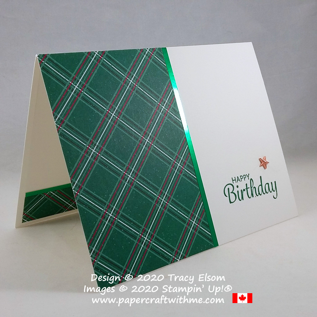 Simple plaid masculine / gender neutral birthday card created using the Here's A Card Stamp Set from Stampin' Up! #papercraftwithme