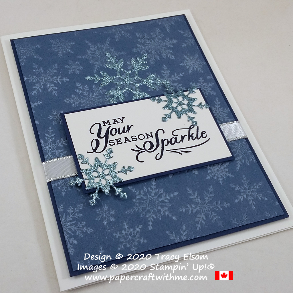 """May your season sparkle"" card created using the Snowflake Wishes Stamp Set, So Many Snowflakes Dies and Winter Snow Embossing Folder from Stampin' Up! #papercraftwithme"