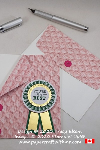 """You're the best"" card with rosette embellishment created using the In Good Taste paper and images from the August 2020 Paper Pumpkin kit ""World's Greatest"". #papercraftwithme"