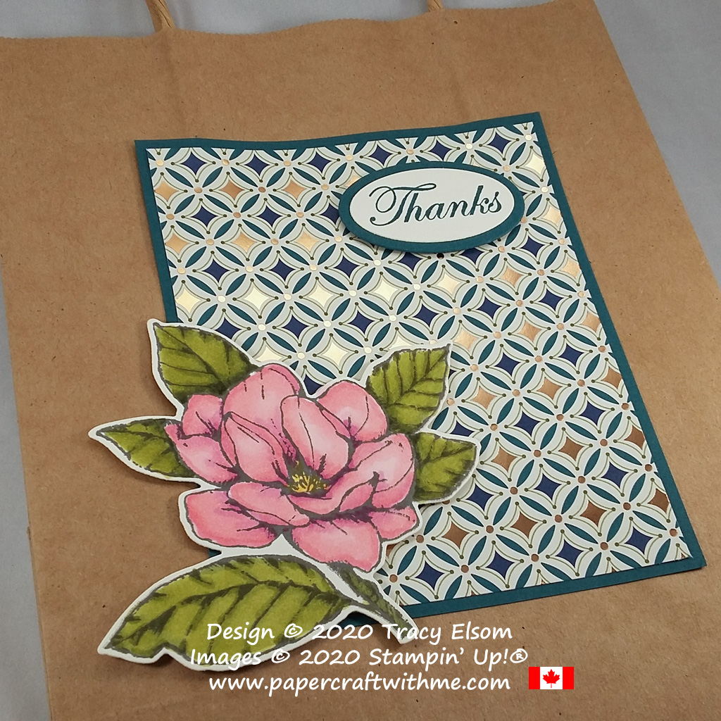 I decorated the front of a brown paper carrier bag using the Good Morning Magnolia Stamp Set and Brightly Gleaming paper from Stampin' Up! #papercraftwithme