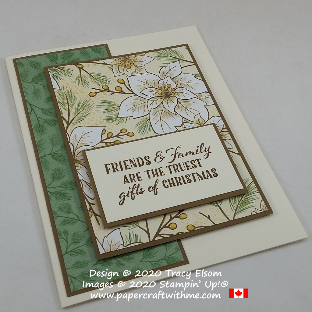 """Friends & Family"" Christmas card with three layers created using the Wrapped In Christmas Stamp Set and Poinsettia Place paper from Stampin' Up! #papercraftwithme #simplestamping"
