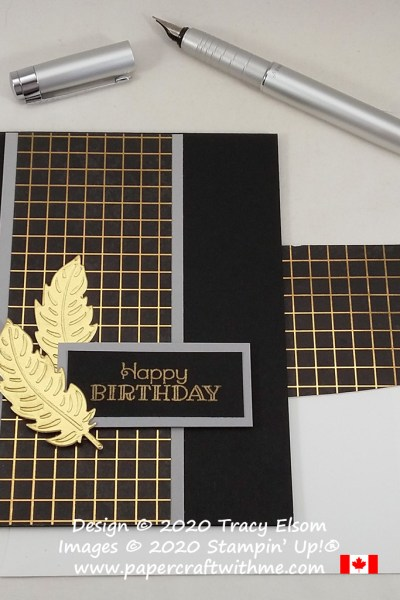 Dramatic gold and black masculine birthday card with embossed feathers created using the Rustic Retreat Stamp Set and Nature's Thoughts Dies from Stampin' Up! #papercraftwithme