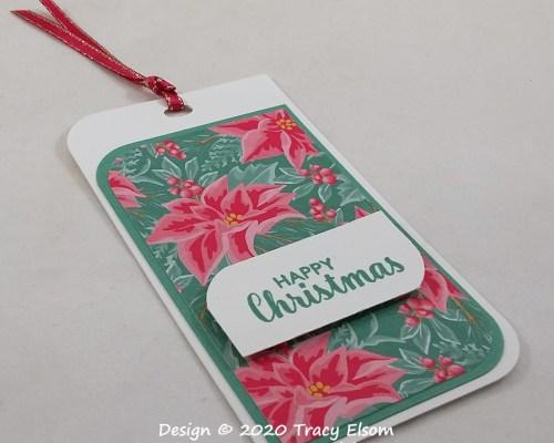 Happy Christmas Poinsettia Tag