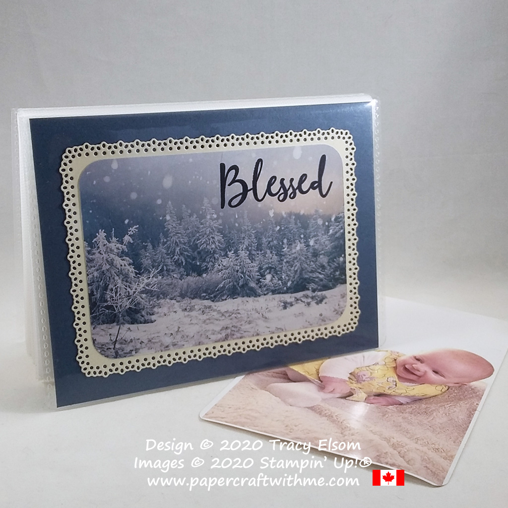 "4"" x 6"" pocket photo album with winter scene and ""Blessed"" sentiment created using the Feels Like Frost paper and To A Wild Rose Stamp Set from Stampin' Up! #papercraftwithme"