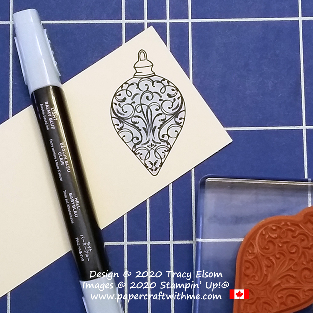 Step 1 colouring the ornament image from the Christmas Gleaming Stamp Set from Stampin' Up! #papercraftwithme