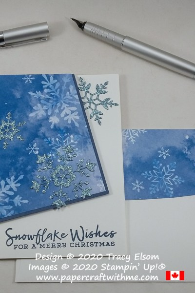 This Christmas card includes an interesting angled layer and was created using the Snowflake Wishes Stamp Set and So Many Snowflakes Dies from Stampin' Up! #papercraftwithme