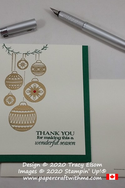 Seasonal thank you card with six embossed ornaments created using the Ornamental Envelopes and Poinsettia Petals Stamp Sets from Stampin' Up! #papercraftwithme