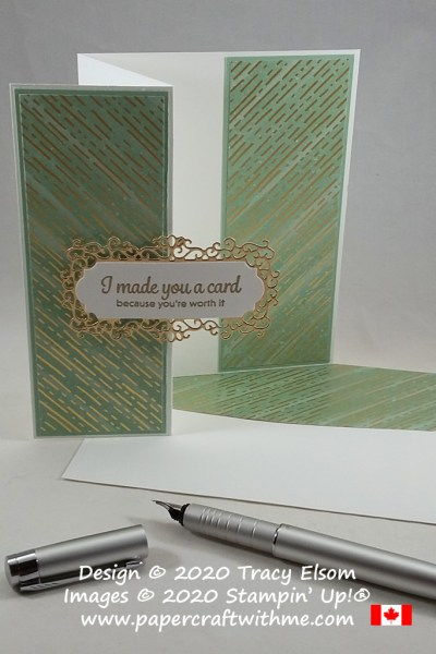 """I made you a card because you're worth it"". Z-fold card created using the Here's A Card Stamp Set and Ornate Frames Dies from Stampin' Up! #papercraftwithme"