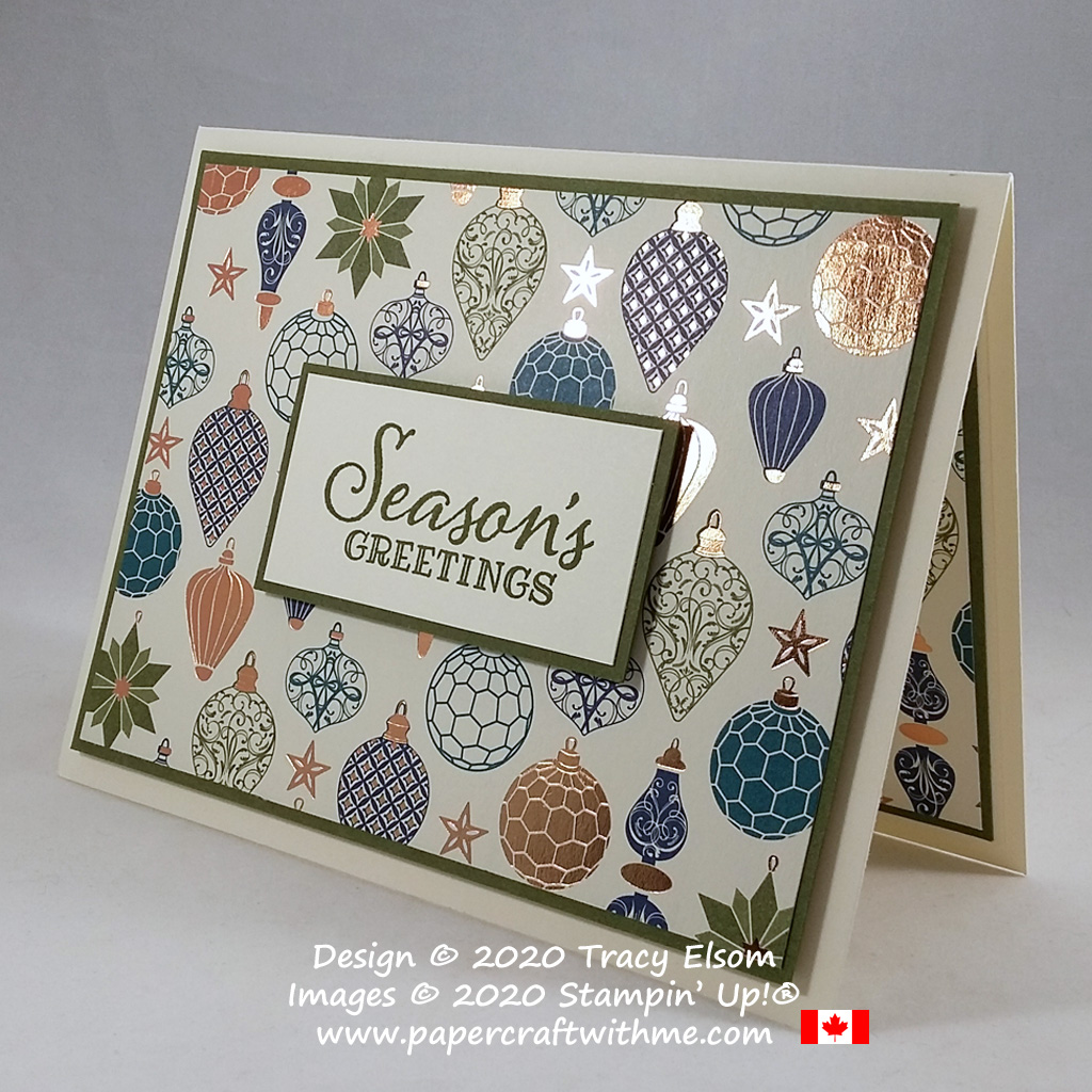 """Season's Greetings"" with this #simplestamping card created using the Peaceful Boughs Stamp Set and Brightly Gleaming paper from Stampin' Up! #papercraftwithme"
