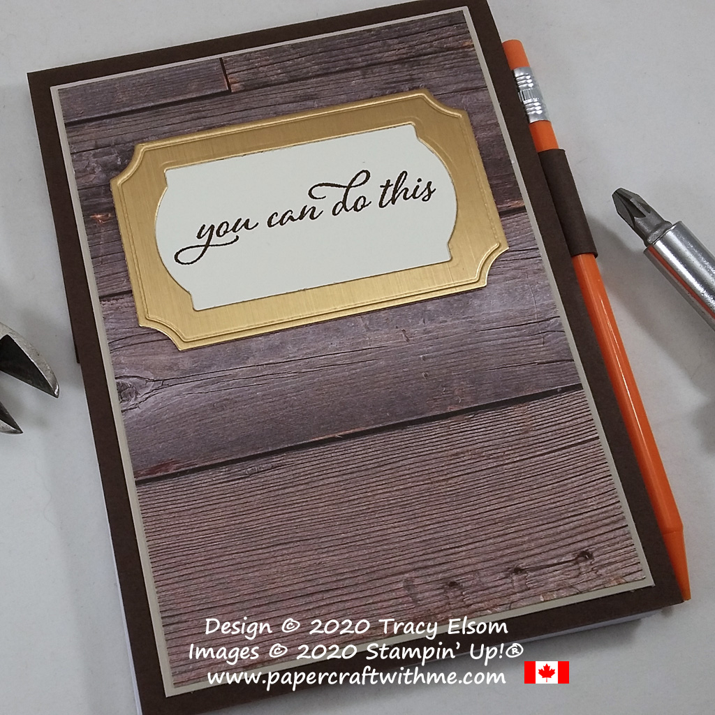 "Masculine notepad with ""You can do this"" sentiment created using the Forever Fern Stamp Set and Painted Labels Dies from Stampin' Up! #papercraftwithme"