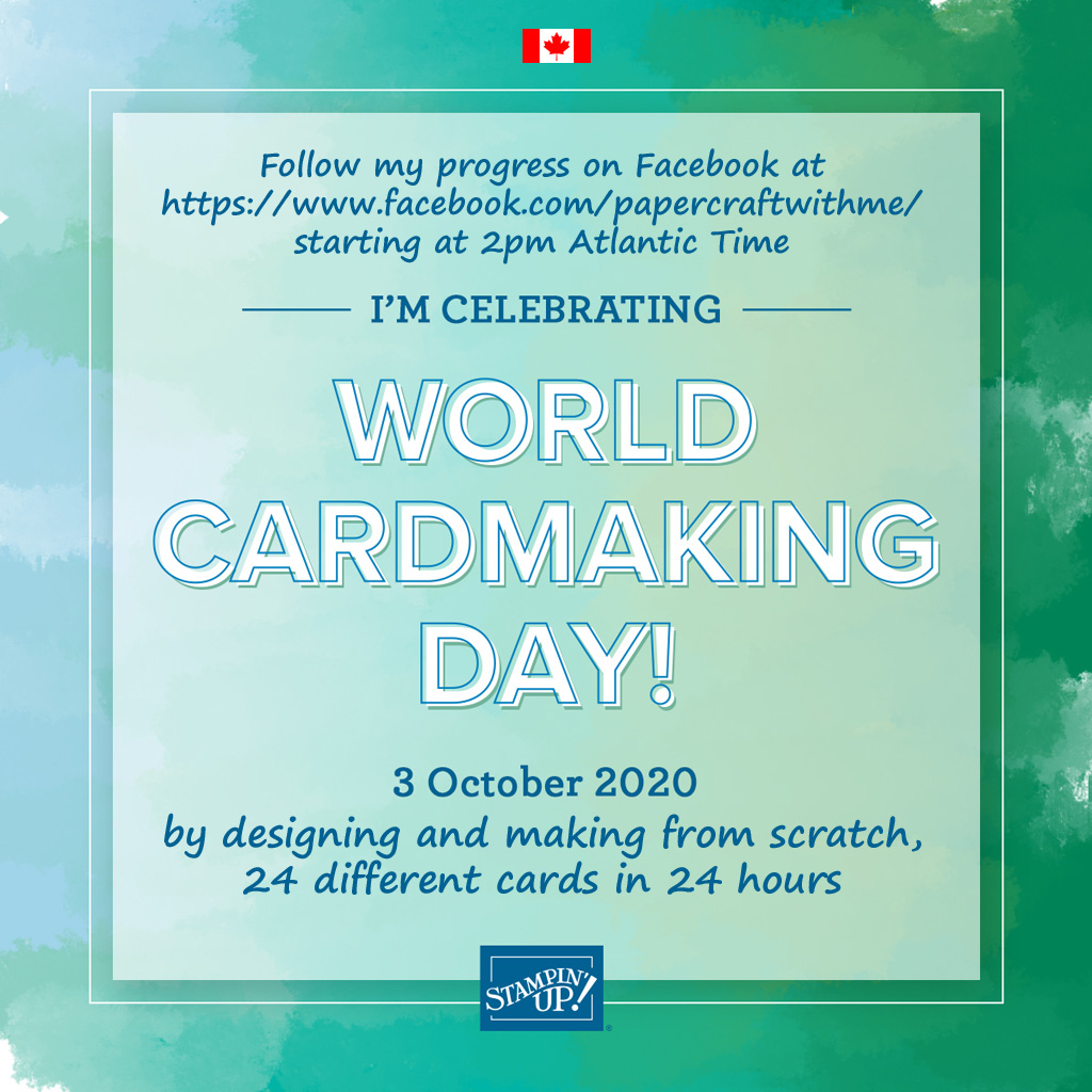 Follow me as I celebrate World Cardmaking Day 2020 by designing and making from scratch, 24 different cards in 24 hours.www.facebook.com/papercraftwithme/