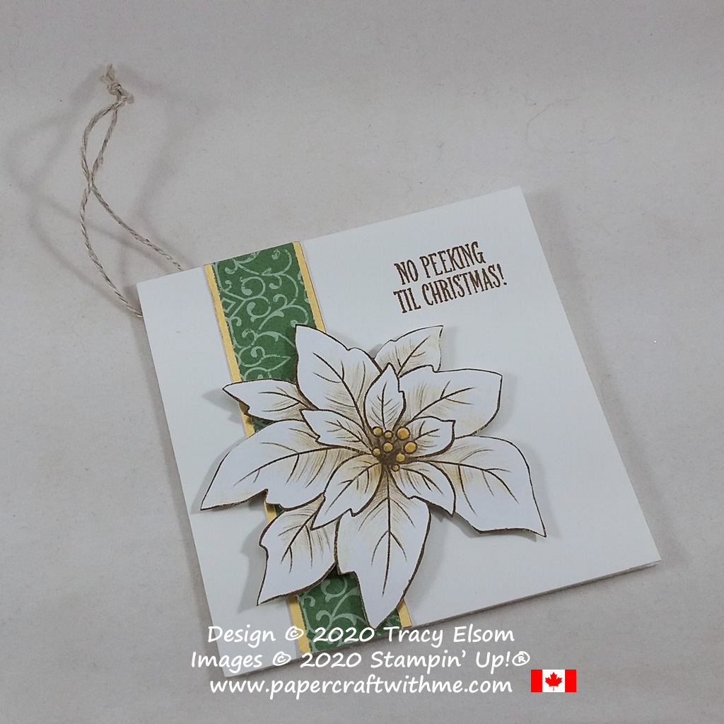 "Elegant folded gift tag with ""No peeking 'til Christmas"" sentiment, created using the Itty Bitty Christmas Stamp Set and Poinsettia Place paper from Stampin' Up! #papercraftwithme"