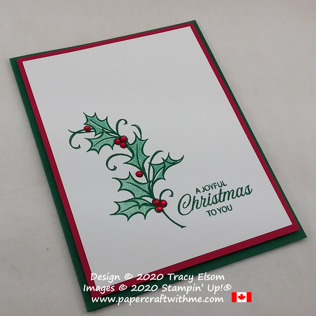 #simplestamping Christmas card created using the Joyful Holly Stamp Set and Red Rhinestone Basic Jewels from Stampin' Up! #papercraftwithme