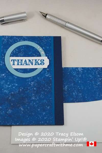 Blue thank you card created to mark World Diabetes Day using the Ornate Thanks Stamp Set from Stampin' Up! #papercraftwithme