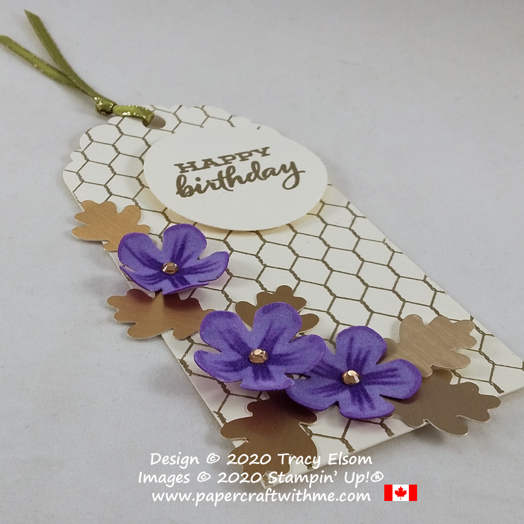 Birthday gift tag with punched flowers and oak leaves created using the All Wired Up and Flour Season Floral Stamp Sets from Stampin' Up! #papercraftwithme