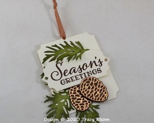 Season's Greetings Pine Cone Tag