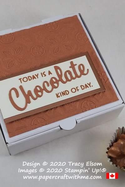Mmm handmade chewy chocolate bites inside a box decorated using the Nothing's Better Than Stamp Set, Love You More Than Dies and Tin Tile 3D Embossing Folder from Stampin' Up! #papercraftwithme