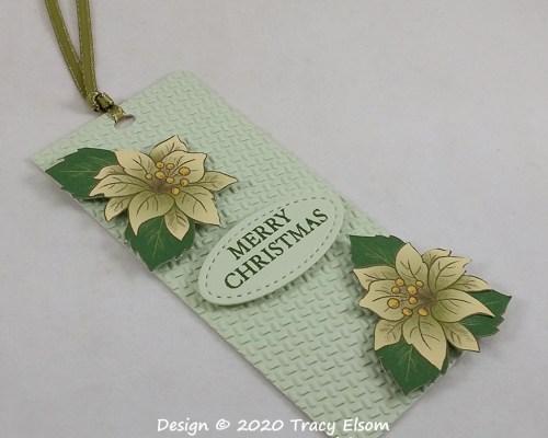 Textured Poinsettia Tag