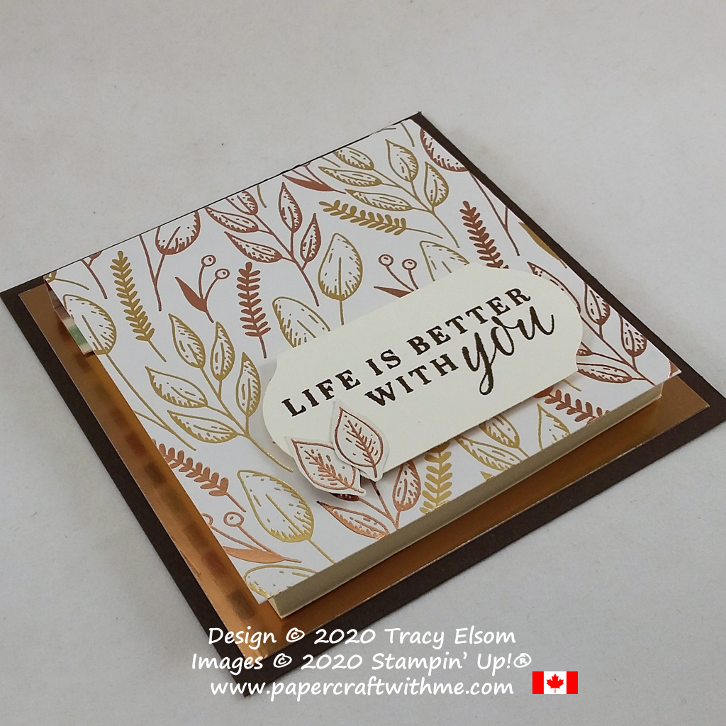 """Covered 3"""" x 3"""" Post-It Note Pad created using the retiring Beautiful Autumn Stamp Set and Gilded Autumn paper from Stampin' Up! #papercraftwithme"""
