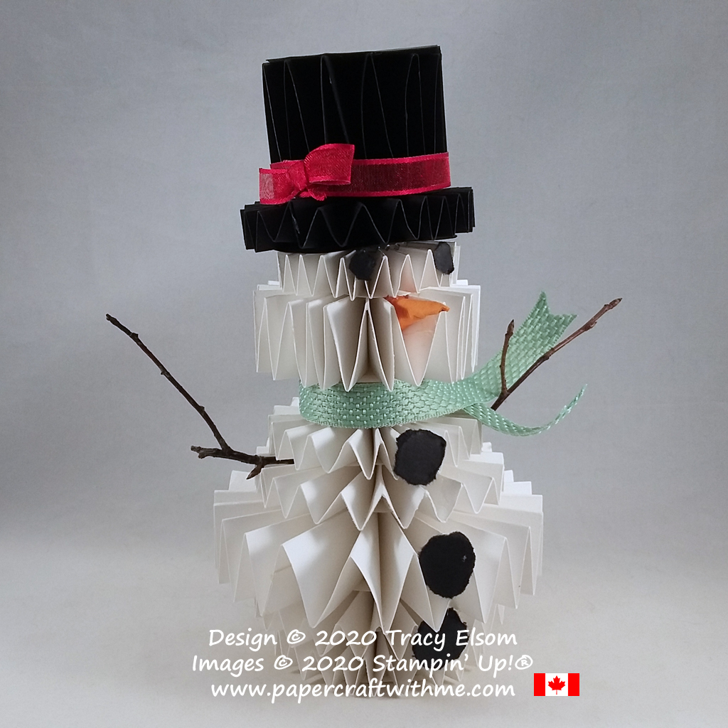 Whisper White snowman centrepiece created from stacked rosette card disks. #papercraftwithme