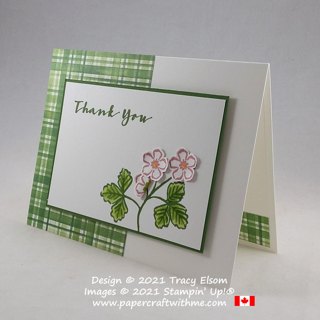 Thank you card created using the Sweet Strawberry Stamp Set and coordinating Strawberry Builder Punch from Stampin' Up! #papercraftwithme