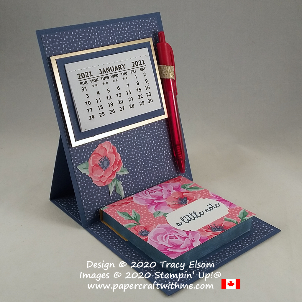 2021 easel calendar / Post-It Note pad created using the Flowers For Every Season Paper from Stampin' Up! #papercraftwithme