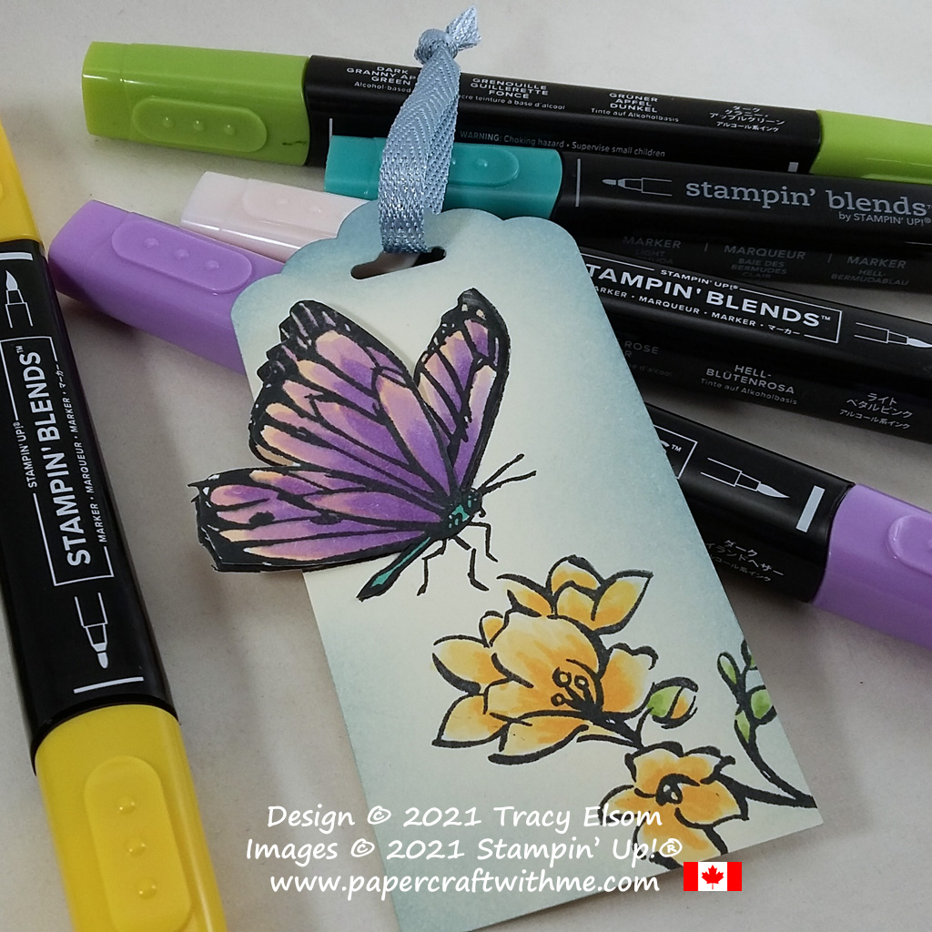 """Colourful gift tag with butterfly and flower images from the free Sale-A-Bration stamp set """"A Touch Of Ink"""" from Stampin' Up! #papercraftwithme"""