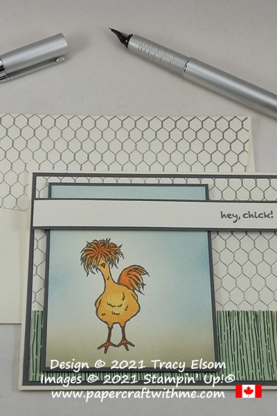 Sweet chicken themed card created using the All Wired Up and Hey, Chick! Stamp Sets from Stampin' Up! #papercraftwithme