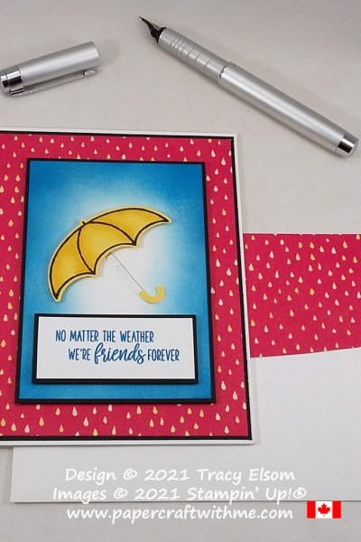 'Friends forever' card created using the Under My Umbrella Stamp Set and coordinating Umbrella Builder Punch from Stampin' Up! #papercraftwithme