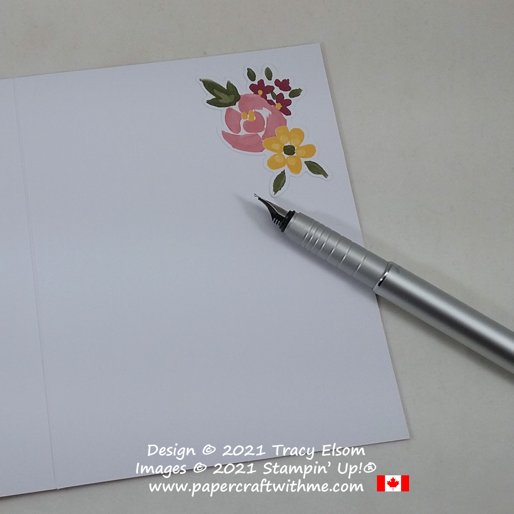 """Inside of alternate card design using the February 2021 Paper Pumpkin kit """"Bouquet of Hope"""".#papercraftwithme"""