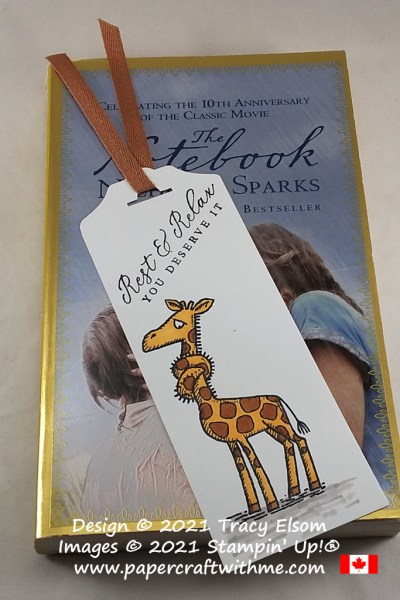 "Simple bookmark with ""rest and relax"" sentiment created using the Back On Your Feet and Timeless Tropical Stamp Sets from Stampin' Up! #papercraftwithme"