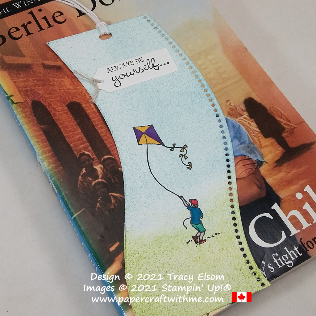 Curved bookmark with kite flyer image created using the Summer Days and Hey Girlfriend Stamp Sets and Curvy Dies from Stampin' Up! #papercraftwithme