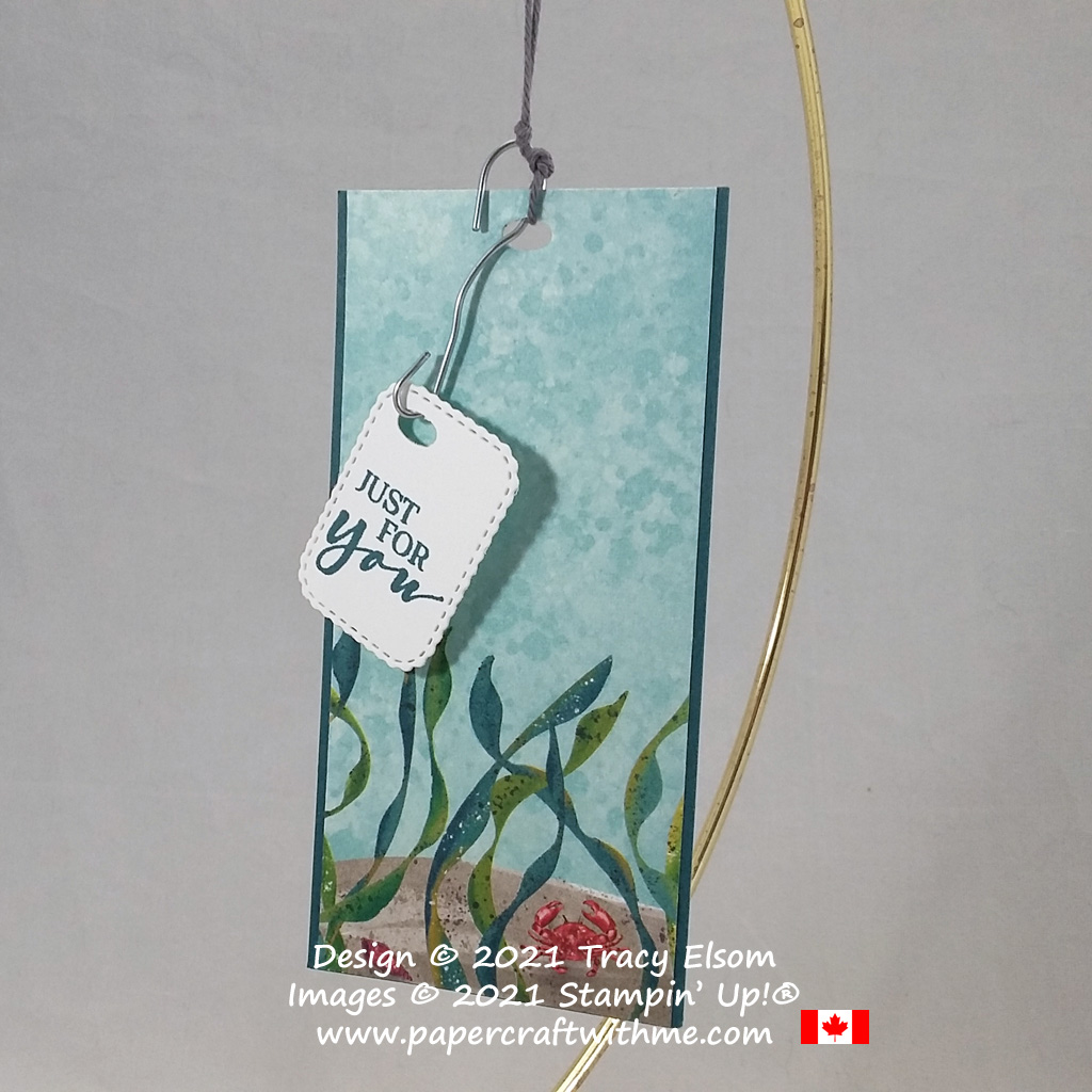 """""""Just for you"""" tag with undersea scene and fishing hook inspired sentiment, created using the Whale Of A Time paper from Stampin' Up! #papercraftwithme"""