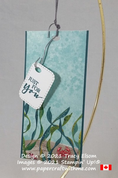 """Just for you"" tag with undersea scene and fishing hook inspired sentiment, created using the Whale Of A Time paper from Stampin' Up! #papercraftwithme"