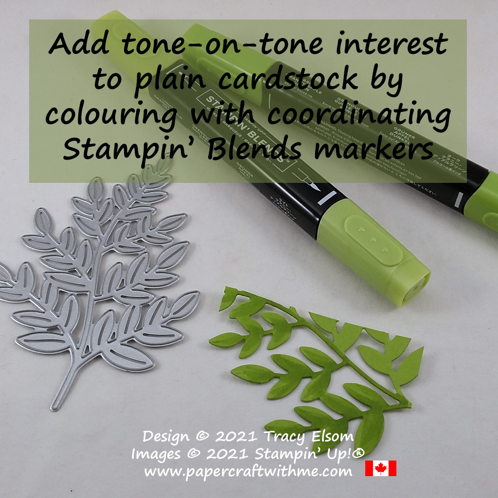 Add tone-on-tone interest to plain cardstock by colouring it with coordinating Stampin' Blends alcohol markers. #papercraftwithme