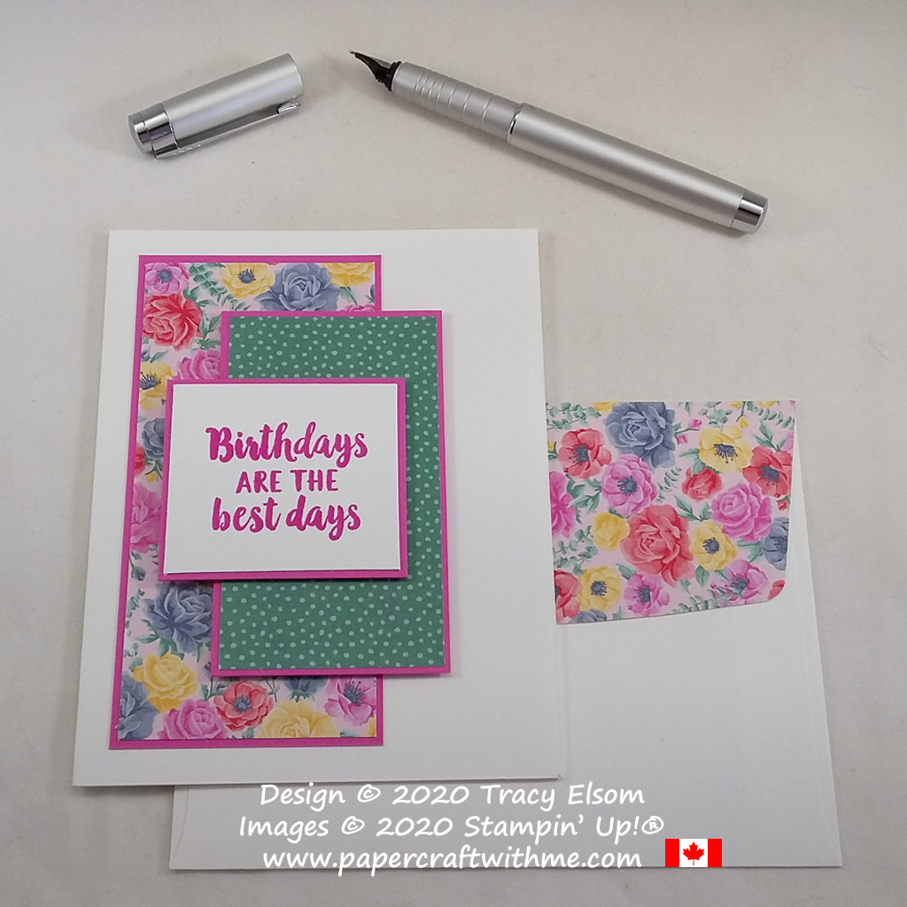 A simple spring birthday card created using the Beautiful Friendship Stamp Set and Flowers For Every Season paper from Stampin' Up! #papercraftwithme #simplestamping