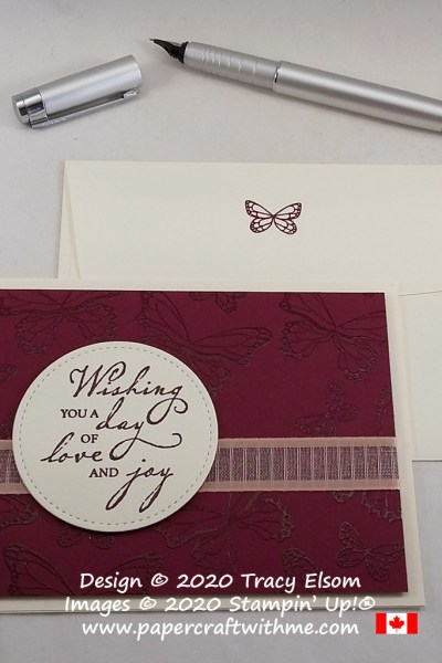 """Wishing you a day of love and joy"" card created using a tone-on-tone embossing technique with the Woven Heirlooms and Butterfly Gala Stamp Sets from Stampin' Up! #papercraftwithme"