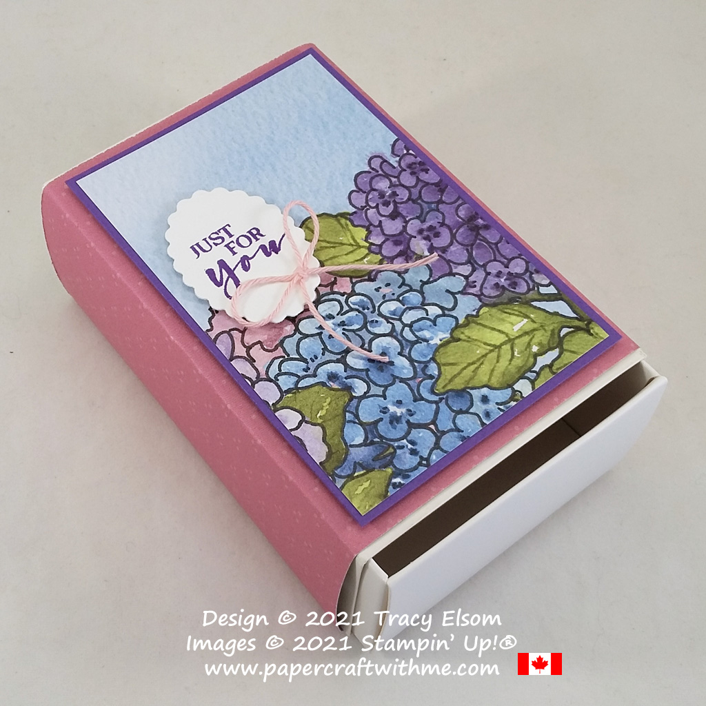 """Just for you"" gift box created using the Hydrangea Hill patterned paper, Sweet Strawberry Stamp Set and Messages Die, all from Stampin' Up! #papercraftwithme"