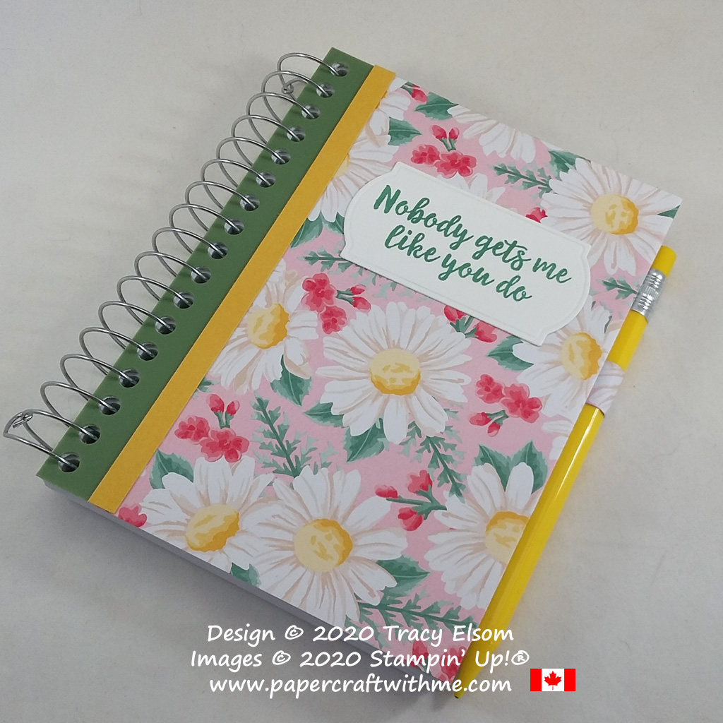 Pretty notebook decorated with spring daisies using the Flowers For Every Season paper and All Things Fabulous Stamp Set from Stampin' Up! #papercraftwithme