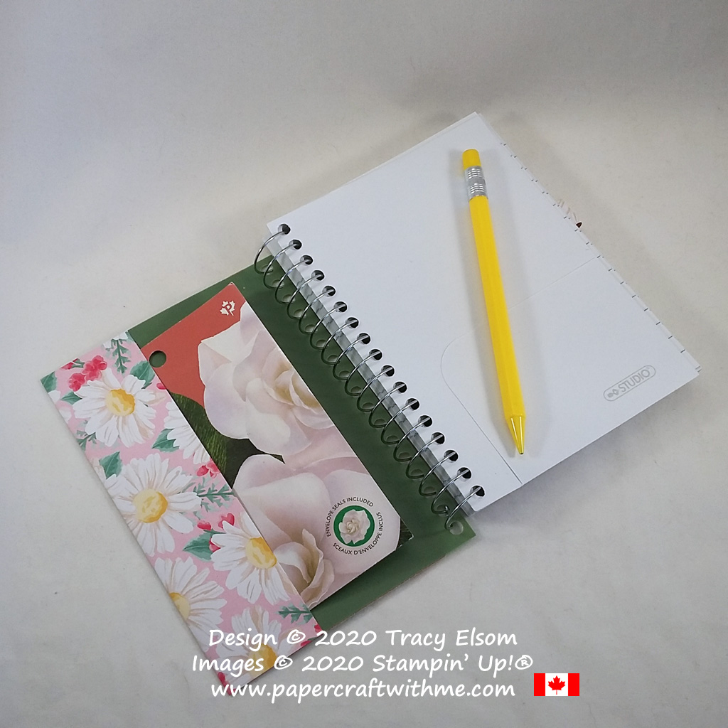 Inside of pretty notebook decorated with spring daisies using the Flowers For Every Season paper from Stampin' Up! #papercraftwithme