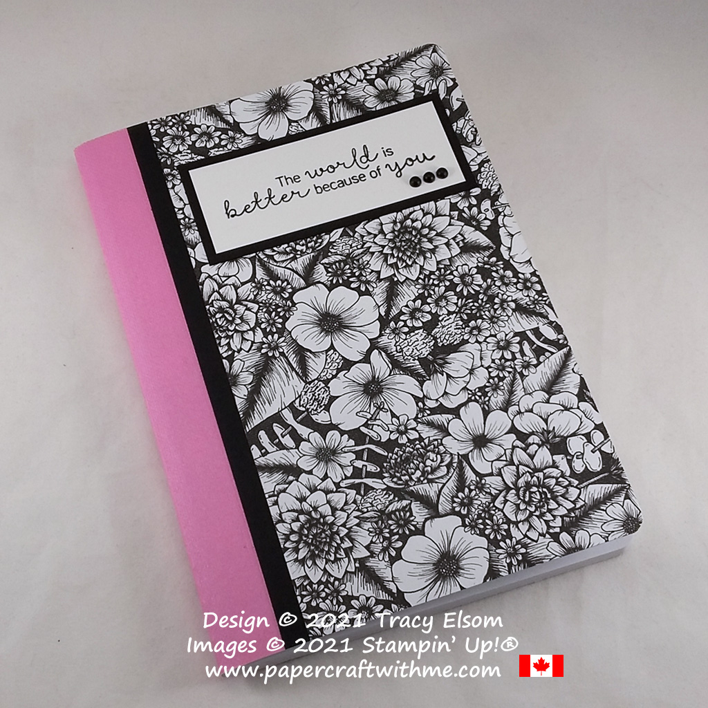 Striking decorated notebook created using a black and white floral design from the True Love paper pack and a sentiment from the Hydrangea Haven Stamp Set from Stampin' Up! #papercraftwithme